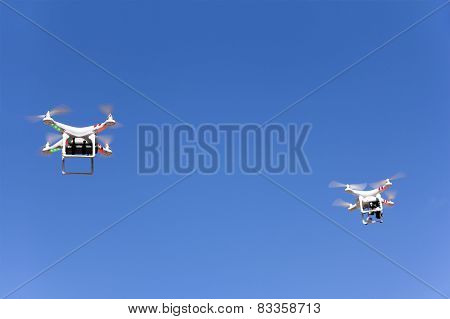 Two Drone Is Flying