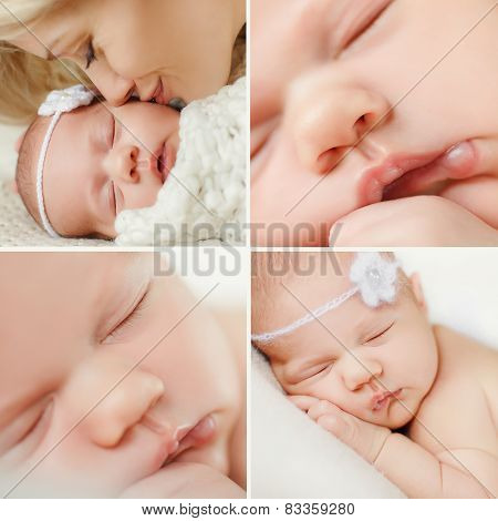 Sleeping newborn baby collage.