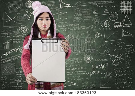 Disappointed Student Displaying Blank Copyspace