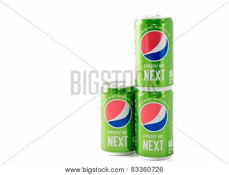 New Pepsi Next Cans Over White Background