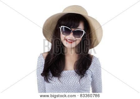 Expressive Beautiful Woman Wearing Sun Hat