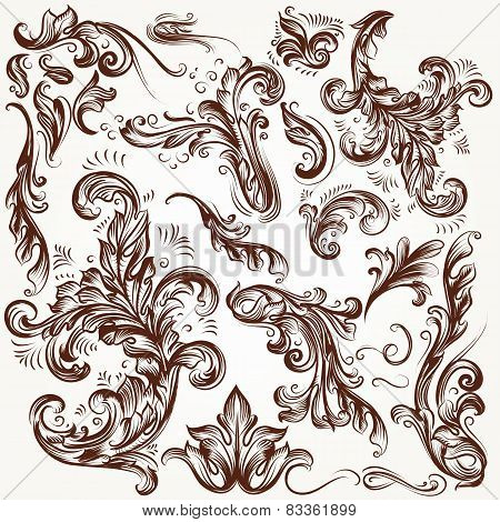 Collection Of Vector Decorative Flourishes In Vintage Style