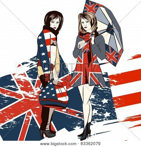 Fashion Trendy Background With Girls And English And Usa Flag