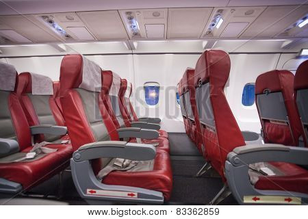 Row of empty sits in commercial jet plane