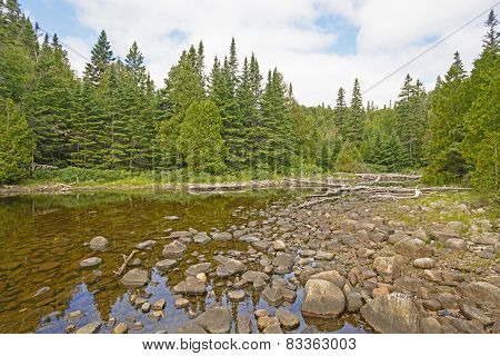 Rocks And Water On The Shallows Of A Secluded Lake