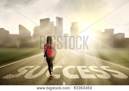 Student Walking On The Success Way