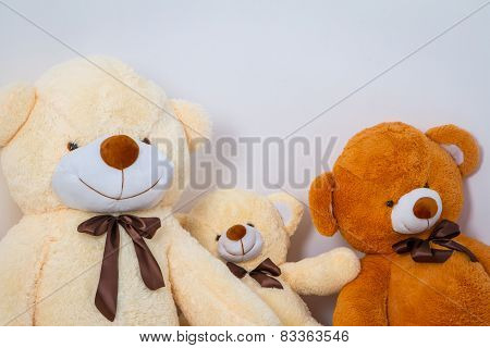 Group of cute teddy bears sitting