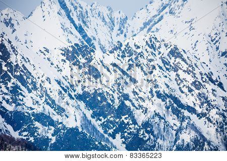 Caucasus mountains beautiful winter landscape
