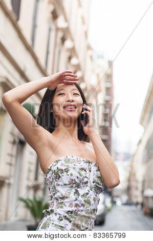 Young Beautiful Asian Woman Smiling Using Mobile Phone Urban Outdoor