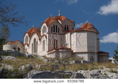 Church Of Agia Marina On Rocky Hillside