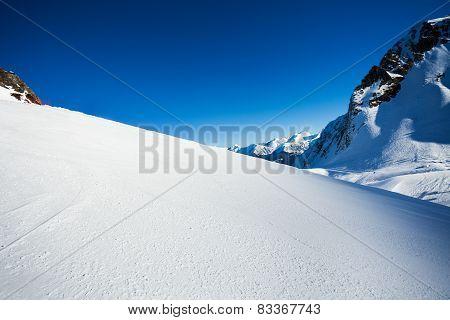 Snow view and Caucasus mountains, Sochi ski resort