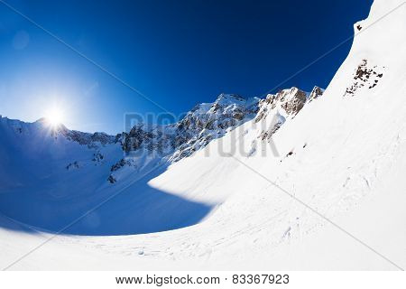Beautiful landscape of Caucasus in winter