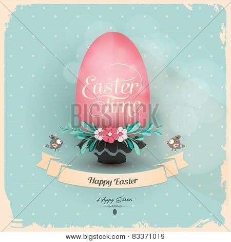 Holiday Greeting Card With Easter Egg