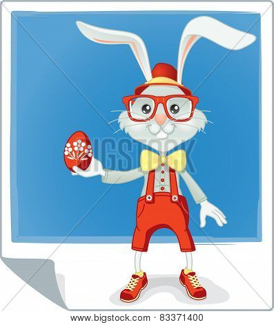 Hipster Easter Rabbit Vector Cartoon
