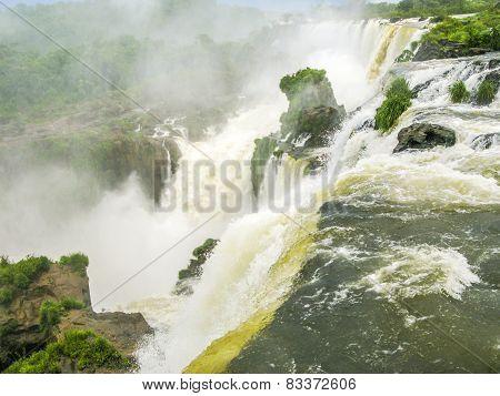 Iguassu Waterfall In South America Tropical Jungle