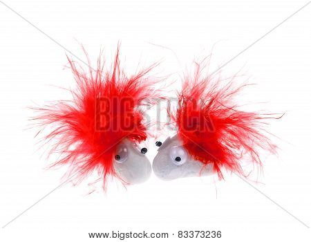Red Feather Googly Eyes Pet Rock Love