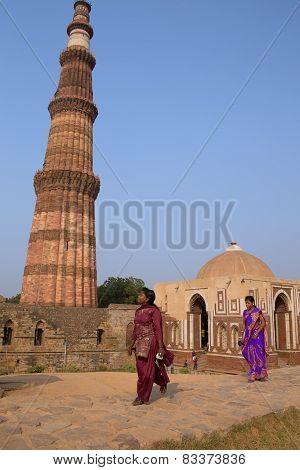 Delhi, India - November 4: Unidentified Women Walk Near Alai Gate At Qutub Minar Complex On November