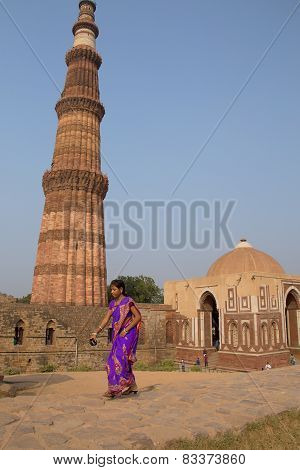Delhi, India - November 4: Unidentified Woman Walks Near Alai Gate At Qutub Minar Complex On Novembe