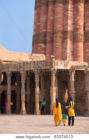 Delhi, India - November 4: Unidentified Women Walk In Quwwat-ul-islam Mosque Courtyard At Qutub Mina