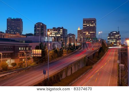 Highway Into Downtown Tacoma Washington City Skyline