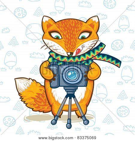 Vector illustration print of a cartoon photographer fox