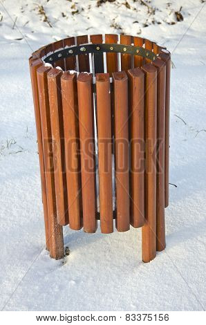 Wooden New Rubbish Bin Box On Snow