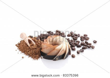 Chocolate Coffee Dessert, Kako Powder And Coffee Beans On White Background Isolate