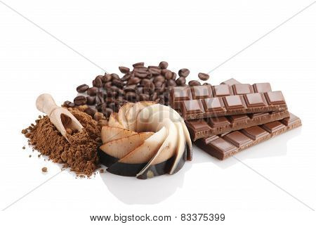 Chocolate Dessert, Coffee, Chocolate, Kako Powder And Coffee Beans  On White Background Isolate