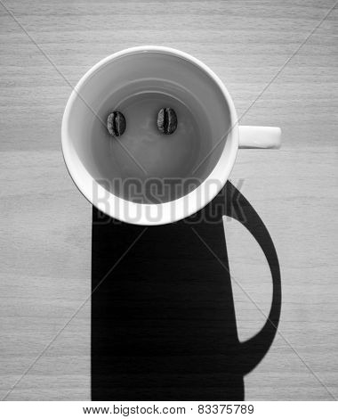 Abstract Coffee Concept, Funny Man Character On Table