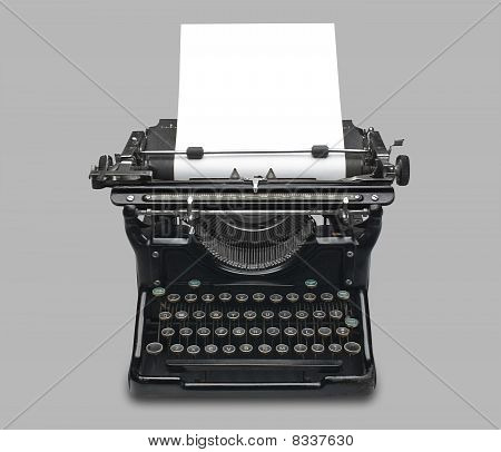 Antique typewriter, isolated