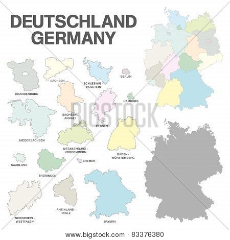 German Map With Regional Boarders - Federal States - High Details - Pastel