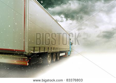 Speeding Truck On Snowy Road