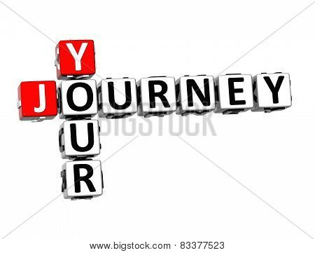 3D Crossword Your Journey On White Background
