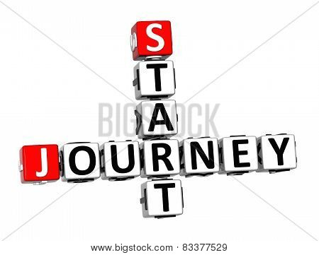 3D Crossword Start Journey On White Background