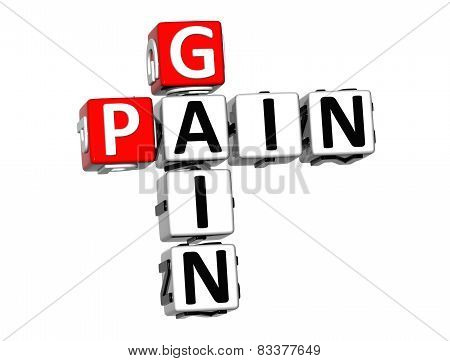 3D Crossword Pain Gain On White Background
