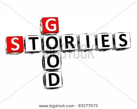 3D Crossword Good Stories On White Background