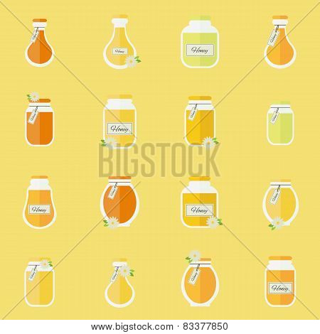 Jars Of Honey. Seamless Backgrond