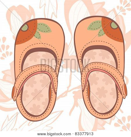 Illustration of beautiful baby girl shoes