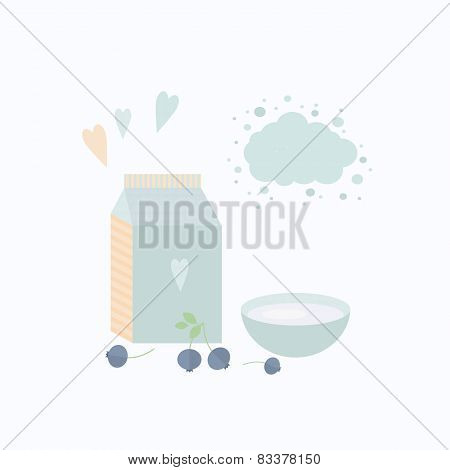 Vector Illustration With Yoghurt And Blueberry