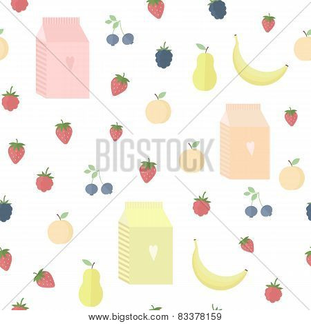 Seamless Background With Yoghurt And Fruits Berries