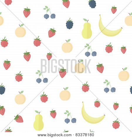 Seamless Background With Fruits And Berries