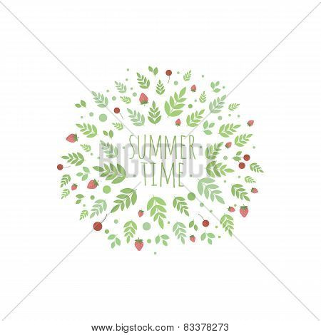 Frame With Leaves And Berries. Summer Time