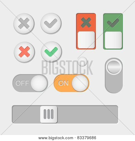 Vector Toggle switch icons. On and Off, Check Mark. skrollbar
