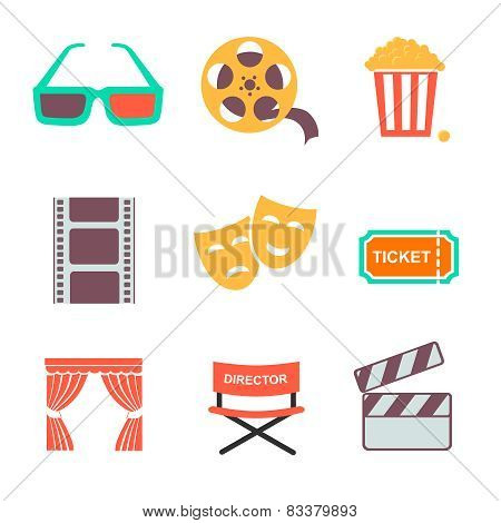 Movie and film icons set. Flat style design. Vector illustration.