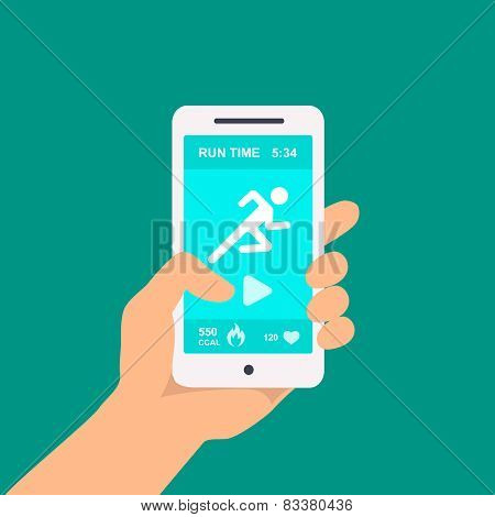 Fitness app on a mobile phone in hand  Vector illustration