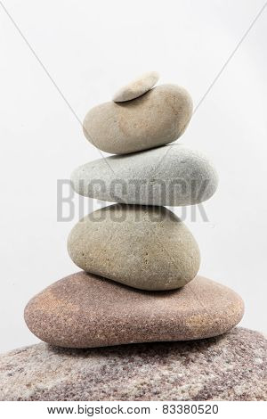 Balancing Stones Isolated On White Background