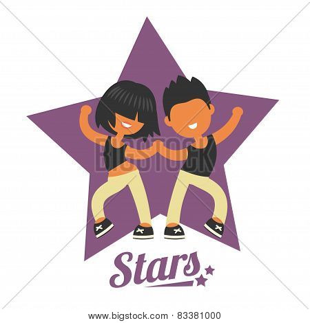 Dance school logo, twosome dancers