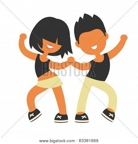 Sporty girl and boy dancing together.