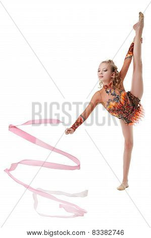 Lovely artistic gymnast performing with ribbon