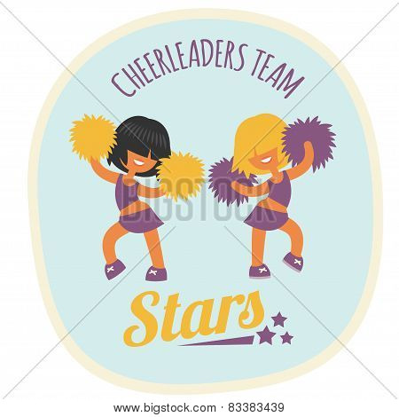 cheerleader girls team, dancing with poms